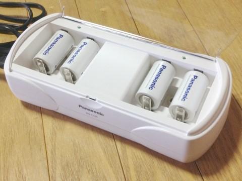 パナソニック ニッケル水素充電器「BQ-CC25」電池をセットしたところ