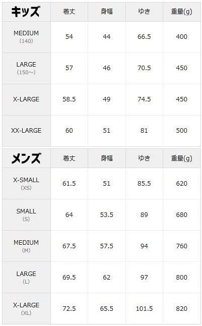 ZOZOTOWNのレトロXサイズ表
